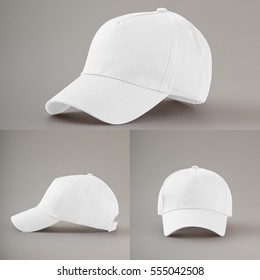 Group of the white fashion caps