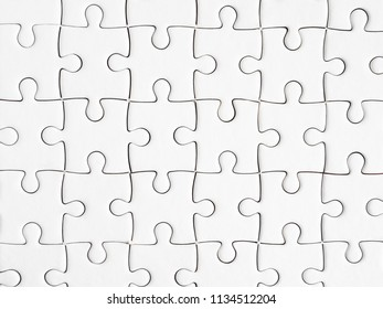 Group of white jigsaw puzzle in top view (Background / Texture)