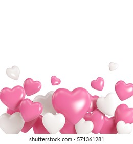 Group of white and pink heart balloons isolated on white background