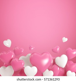 Group of white and pink heart balloons on pink background