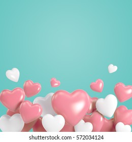 Group of white and pink heart balloons on tiffany blue background