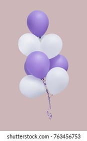 Group of white and purple balloons isolate on pantone background with clipping path, easy for change background