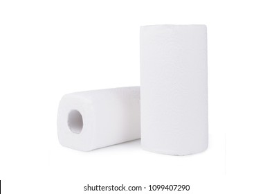 Group of white rolls papper towels, isolated on white background