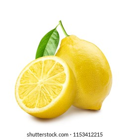 Group of whole and half ripe lemons with leaves, isolated on white background