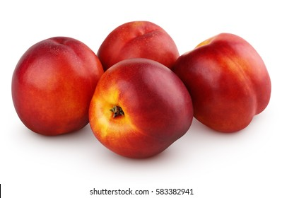 Group of whole nectarine fruits isolated on white background with clipping path