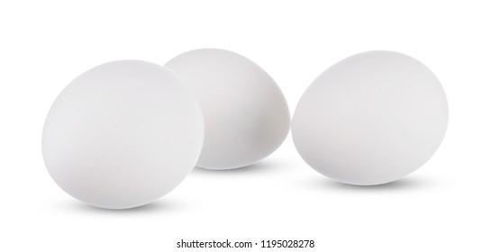 Group of whole white eggs isolated on white background