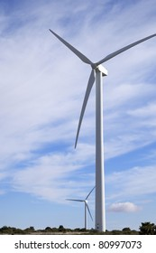 group of windmills for green power production