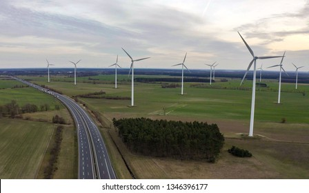 The group of windmills for renewable electric energy production