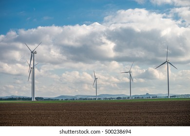 group of windmills for renewable electric energy production, Poland