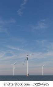 Group of windmills for renewable electric energy production, Westermeerwind, Noordoostpolder, Flevoland, Urk, The Netherlands