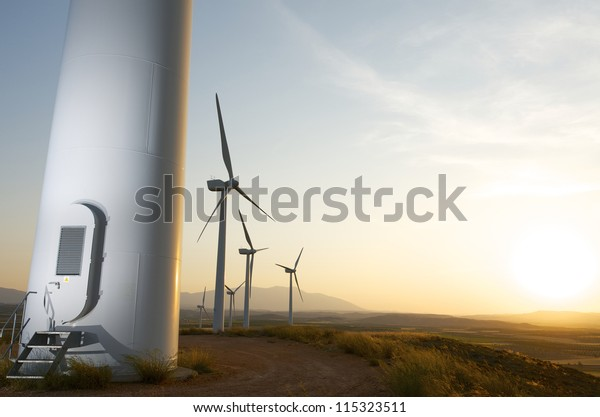 Group of windmills for renewable electric energy production, Fuendejalon, Zaragoza, Aragon, Spain