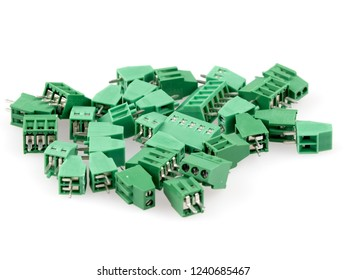 A group of wire to board connectors, isolated on white