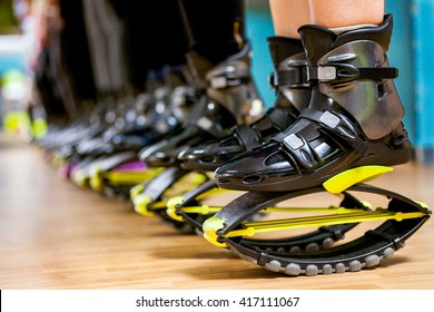 group of woman doing exercises  fitness with  kangoo shoes