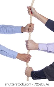 Group of woman hands pulling a rope