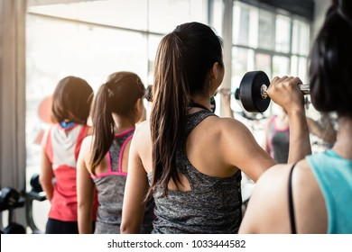 Group of woman lifting weights with dumbbells in gym, Fitness ,training lifestyle concept