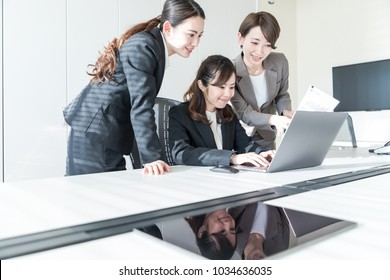Group of woman in the office. Teamwork of business concept.