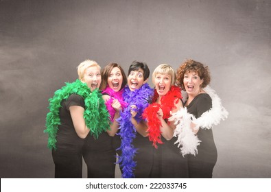 group of woman ready for party
