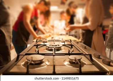 group of women at cooking workshop