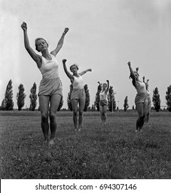 Group of women exercising in grass field