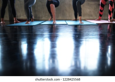Group of women exercising on aerobic stepper in gym, Group of  woman doing yoga exercise and relax with sportswear in sport gym, healthy lifestyle concept.