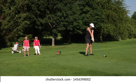 Group of women golfing together. Taken in Ullersdorf, Saxony / Germany on June 16, 2019. People agreed to be photographed.