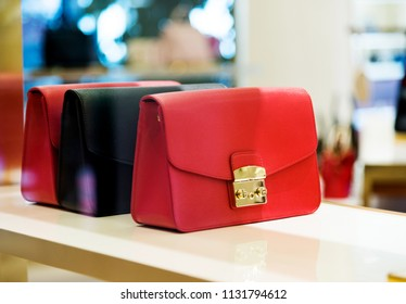 Group of women handbag in fashion shop