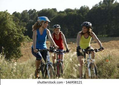 Group of women riding mountain bike
