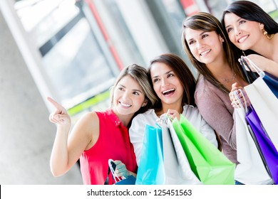 Group of women shopping at the mall