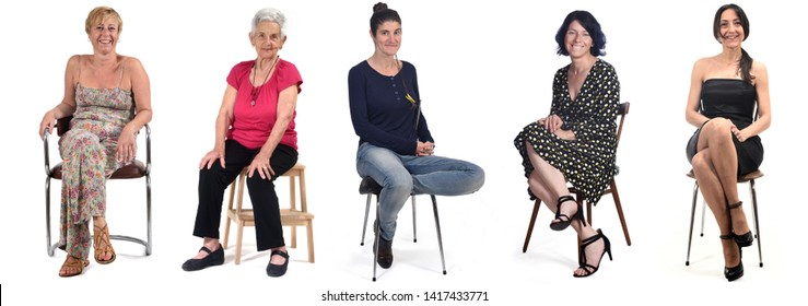 group of women sitting on chair on white background
