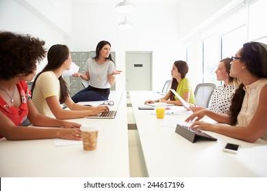 Group Of Women Working Together In Design Studio