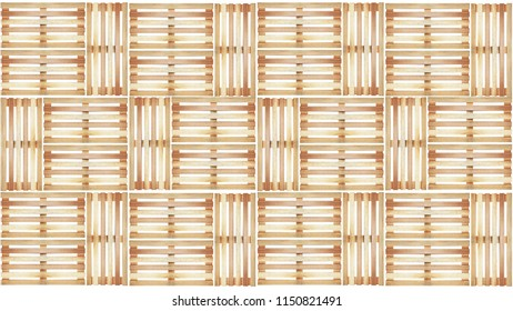 Group Of Wood Pallet Pattern On White Background In Top View