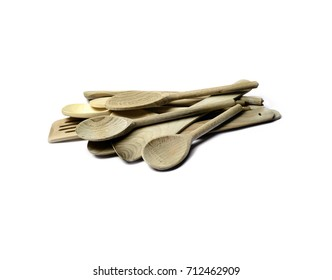Group of wooden cooking tools; isolated on white ground; good copy space