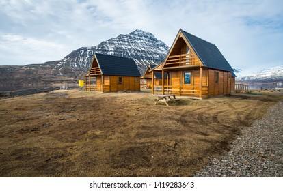 Group of wooden hut in Mjoeyri nearly Eskifjordur town of east fjord of Iceland.