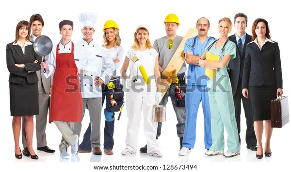 Group of workers people. Business team.