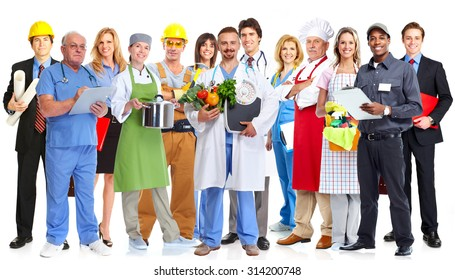 Group of workers people isolated white background. Teamwork.
