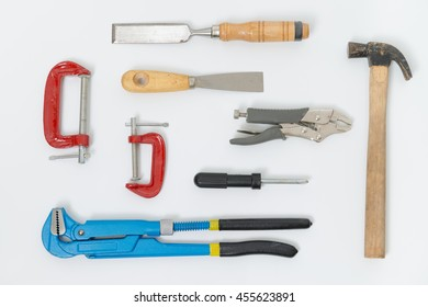 A group of working tools on white background.