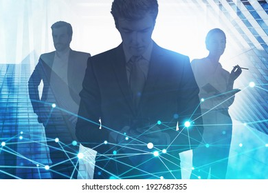 Group of working young professionals with smartphones, docs and other technologies to gain success in career. Concept of international business and logistics. Double exposure