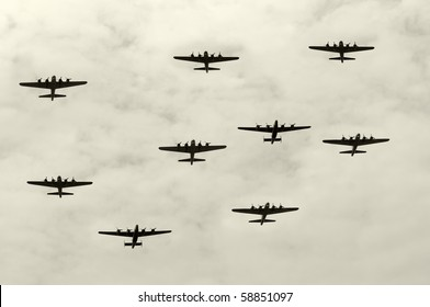 Group of World War II heavy bombers on a mission