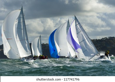 group yacht at regatta in the swell