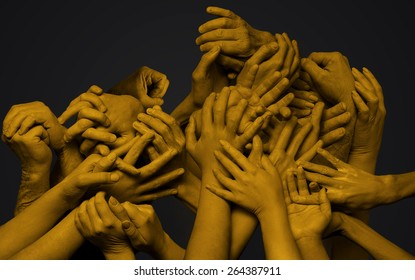 Group of yellow hands