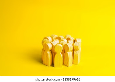 Group of yellow people on a yellow background. Crowd, meeting, social activity. Society. Inert society. Herd instinct, management of people. Human resources, workers stand together. Disguise