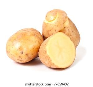 Group of yellow potato isolated on white background