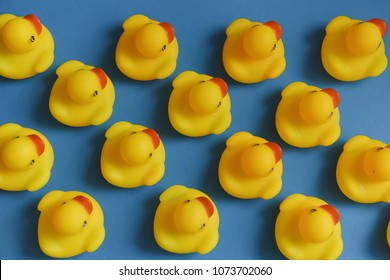 Group yellow rubber ducks toys are in lines diagonally on a blue background