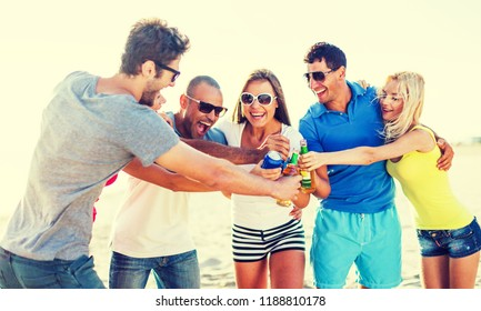 Group of young adults partying at the