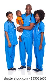 group of young african doctors with child isolated on white