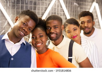 group of young african people indoors