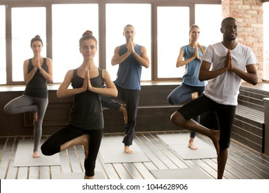 Group of young afro american and caucasian sporty people practicing yoga lesson standing in Vrksasana exercise, Tree pose with namaste gesture, working out, indoor, studio. Healthy lifestyle concept