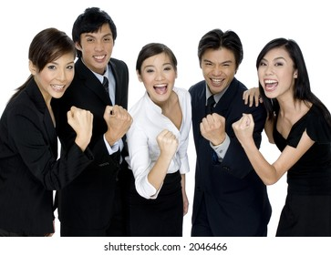 A group of young asian business people celebrate their success on white background