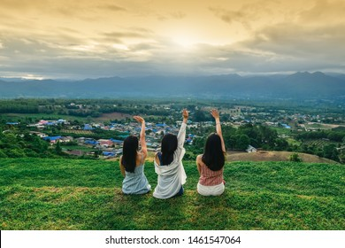 Group of young Asian women traveler on top hill joy fun view nature scenic landscape, Outdoor leisure lifestyle people travel Pai Thailand, Tourist girl on vacation, Tourism beautiful destination Asia