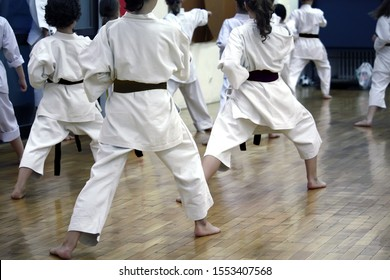 Group of young boys and girls on the karate practice